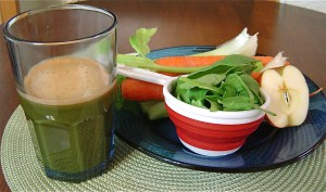 Apple, cucumber, celery, carrots and spinach